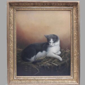 16-26699 Oil on canvas of a cat Image