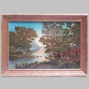 25-12700 Painting on artist board primitive landscape Image