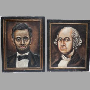 13-22652 Two folk art portraits of George Washington and Abraham Lincoln Image