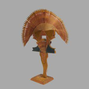 15-25273, Carved wood whimsey polychrome paint a leg brace, 2 tier fans, ATT. to Harvey Kinsey, Lancaster Co., PA. $1,800