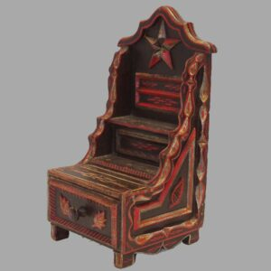 16-26457, Folky wood sewing stand single drawer, carved star, signed J.L. Moak,1881. $1,495