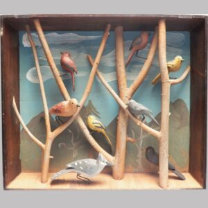 15-25093, Shadow box with a variety of carved and painted wood birds on branches, Lancaster Co., PA. $3,400