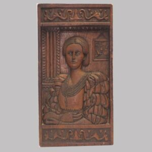 30-21166, Carved wood panel of a interior scene, portrait of young woman, New England. $2,250