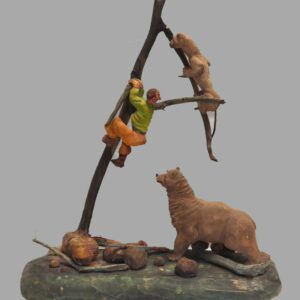 21-9088, Whimsical carving of a man climbing a limb surrounded by a bear and wild cat, PA. $3,450