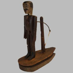 14-23767, Exceptional folk art Gent, dangling toy  carved and painted wood, origin Hatfield PA 19th century. $3,850