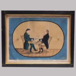 31-20439 Folkart watercolor on paper interior scene of two men with pipes Image