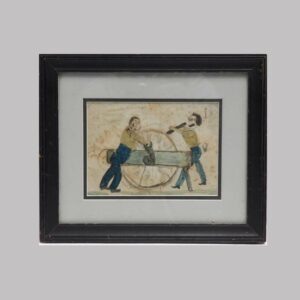 25-12642 Folk Art pen and watercolor of two men working Image