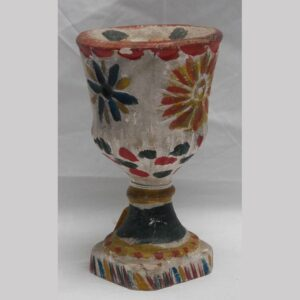 2-5590,Chalk chalice candle holder exceptional polychrome painted surface. $950