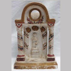 23-10085, Chalkware watch hutch bold colors, scene of praying figure. $2,850