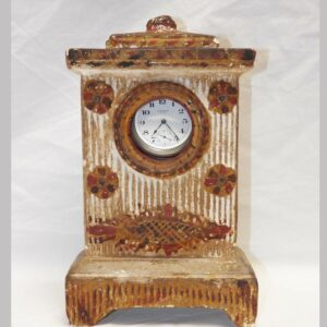 14-24472, PA chalkware clock hutch with cover polychrome paint molded relief. $450