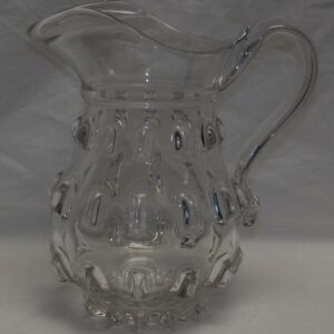 16-26860, Large blown flint glass pitcher cleat pattern, Pittsburgh district. $450