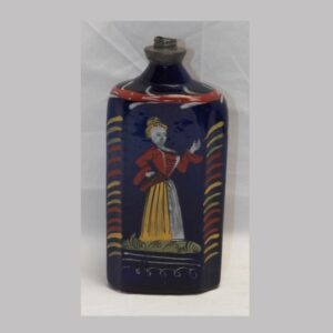 14-23959, Steigle type blown cobalt blue bottle enameled lady and script. $900