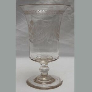 15-26149, Blown flint glass footed celery fine wheel engraved tassel and floral design, Pro. Pittsburgh district. $375