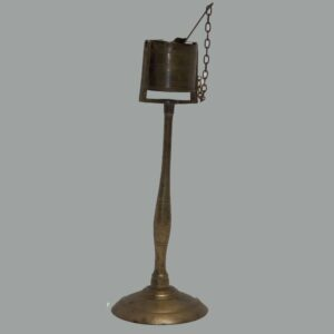 27-15999, Brass kettle lamp baluster shaft, fine workmanship, early 19th century. $2,250