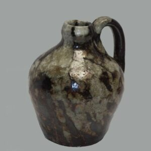 31-20555, Rare PA redware miniature oviod jug, having a grey, greenish maganese decoration. $2,950