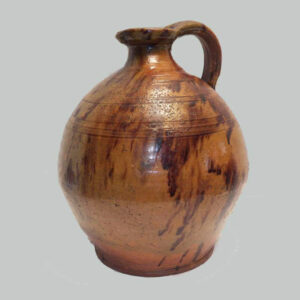 16-26257, Exceptional redware bulbous ovoid jug, pour spout, incised ring two tone glaze. $4,450