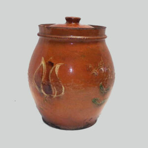 PA redware jar rare 3 color slip tulip and flower decoration, early to mid 19th century. $9,500