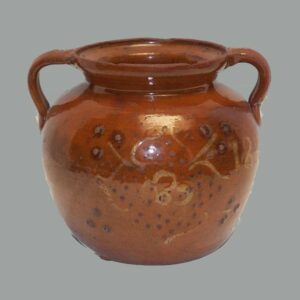 31-20897, PA redware jar 3 color slip tulip and flower decoration, early 19th century. $7,500