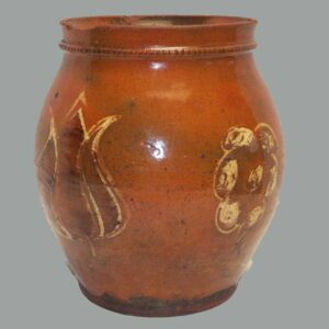 16-26692, Rare PA redware jar 3 color slip tulip and flower decoration, early 19th century. $7,500