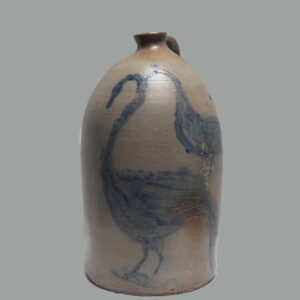 28-18853, Folk art jug incised and cobalt blue decorated swan like birds, handle replaced. $5,500