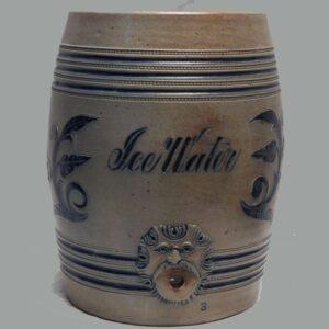 """16-26316, 3 gal., watercooler incised """"ICE"""" cobalt blue raised relif mask, Attr. to Wingander NJ. $675"""