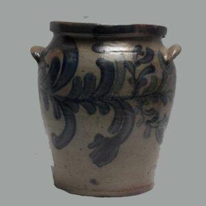 15-25733, Stoneware handled jar profuse cobalt blue flower decoration, fine condition. $1,695