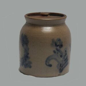 26-26276, Small size stoneware jar with cover, cobalt blue floral decoration. $650