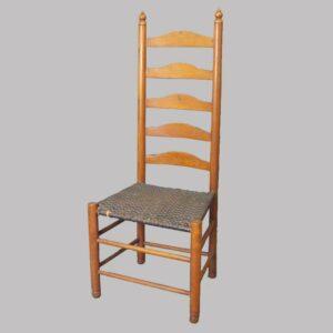 97-112733, 5 slat refinished ladder back side chair. $325