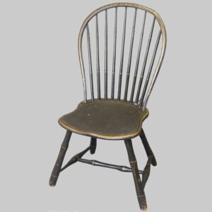23-10220x, PA 9 spindle hoop back windsor chair old black paint with gold trim. $295