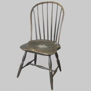 12-21467, Lancaster co PA, 7 spindle hoop back windsor side chair, green painted untouched surface. $1,975