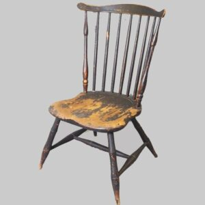 30-21937, 7 spindle fan back slipper chair, shaped seat, PA, black paint. $900