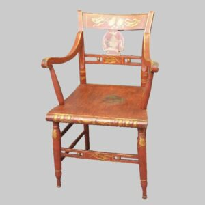 24-11351x, Paint decorated fancy arm chair red ground gold gilt decoration. $2,250