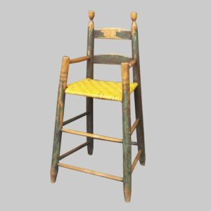 26-14541, Child's ladder back high chair 2 arched slats with urn finials, Delaware river valley.  $1,375