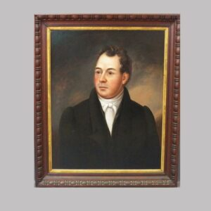 30-21713 New England oil painting on wood panel Image