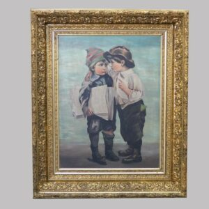 29-19255 Portrait of two young boys on canvas Image