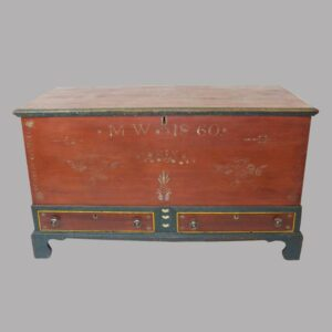 14-23982, Paint decorated Soap Hollow blanket chest 2 drawers, cutout hearts, stenciled dated 1860. $6,500