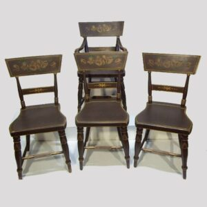 30-20794, Set of 4 painted plank seat chairs, including an arm chair, PA. $750