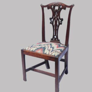 15-25904, Mahogany Chippendale side chair, elaborately carved splat and crest, 1770-90's, probably NY state. $2,750