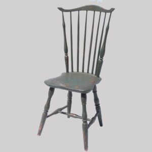 16-27089, 6 spindle comb back Windsor side chair shaped seat old green paint, early 19th century. $900