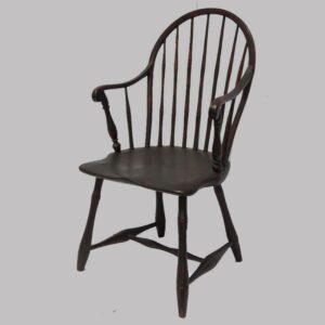 16-27199, Philadelphia 7 spindle hoop back Windsor arm chair, original red ground black decoration. 1790-1810. $1,295