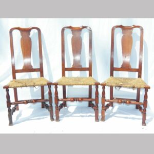 12-21644, Set of 3 New England Queen Ann side chairs, spoon back rush seats, mixed woods, cherry and maple, 18th century. $2,450