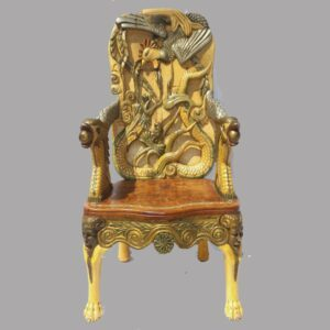 15-25886, Folk art relief carved and painted arm chair, ornately carved, mythology creatures, bone inlay seat, Nauvoo IL, Late 19th early 20th century. $6,850