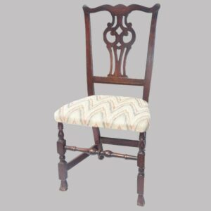 31-20538, New England mahogany Queen Ann side chair, pierced splat Spanish foot, later 18th century. $675