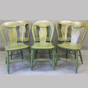 15-25485, Set of six paint decorated balloon back plank seat chairs, original green neat floral tole decoration. $1,450