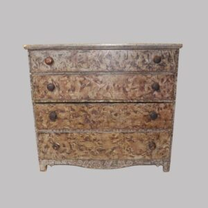 14-23983, New England paint decorated mule chest with 2 drawers, neat color a brown over grey vinegar design. $3,450