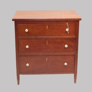 25-11911x, Miniature child's size Sheraton 3 drawer chest with string inlay and escutcheon  inlay, New Jersey origin. $1,975