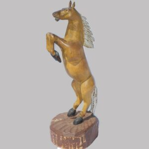 16-26784, Carved wood figure of a horse rearing, polychrome original paint, glass eyes, late 19th early 20th century. $2,400