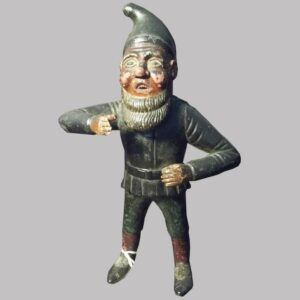 31-22562, Folk art carved wood figure of a standing gnome, painted surface good detail, 19th century. $775