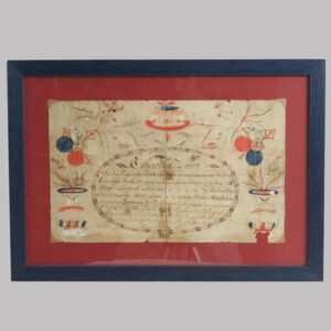 Watercolor and pen on paper Fraktur record 1797 Image