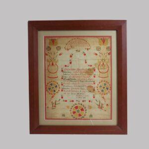 26-14159 Watercolor fraktur birth certificated for Sarah Schollenburger, 1839 Schuylkill, County Pennsylvania Image